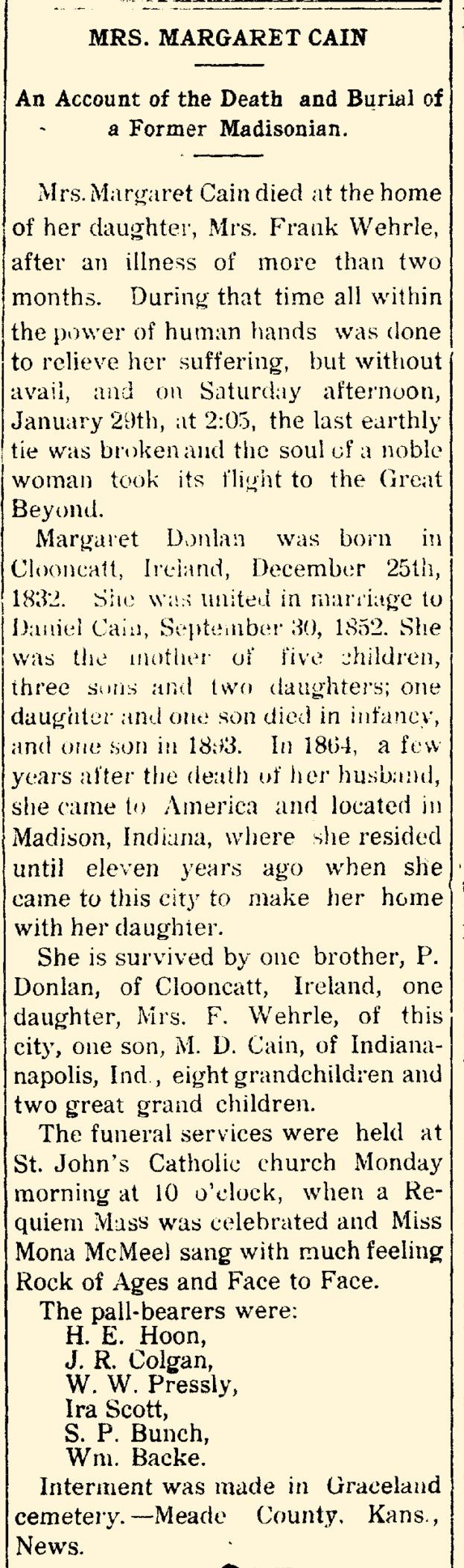 Cain Donlan Margaret