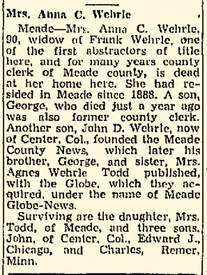 Obituary Anna Cain Wehrle